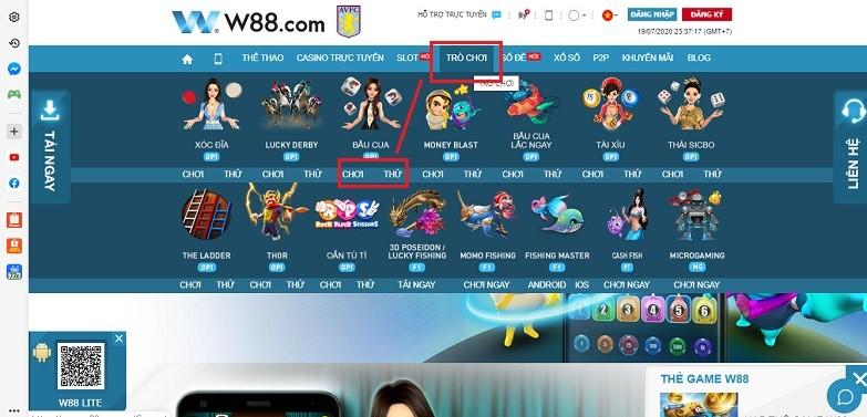 Hướng dẫn chơi bầu cua tôm cá W88 trên điện thoại và máy tính