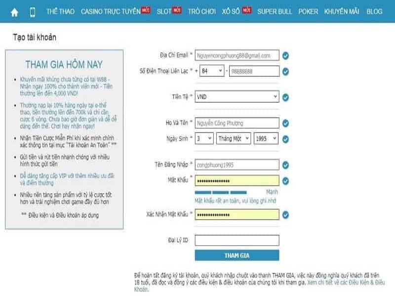 Điền đầy đủ các thông tin cá nhân để đăng ký tài khoản W88