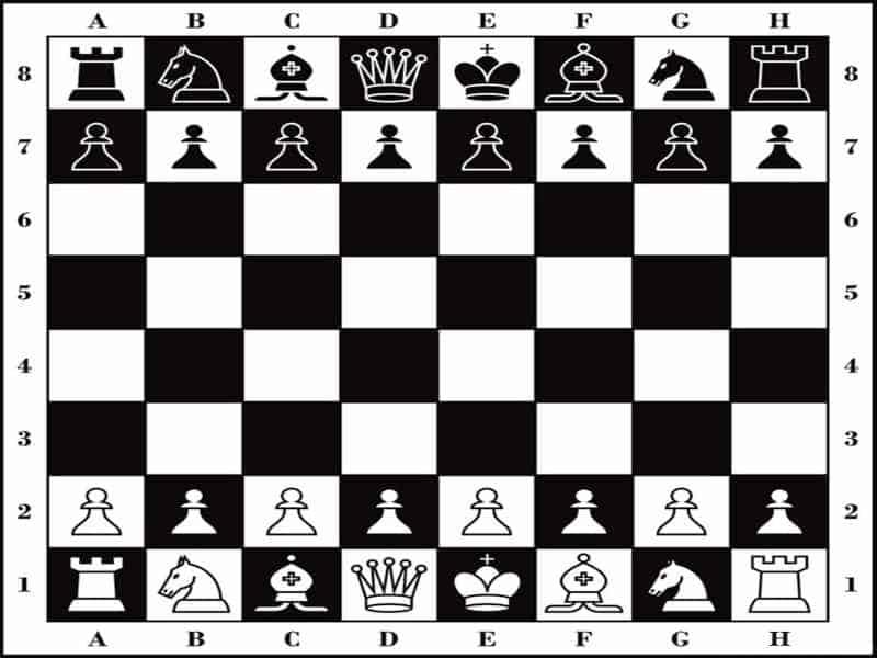 Bàn cờ vua được sắp xếp các quân cờ theo quy định